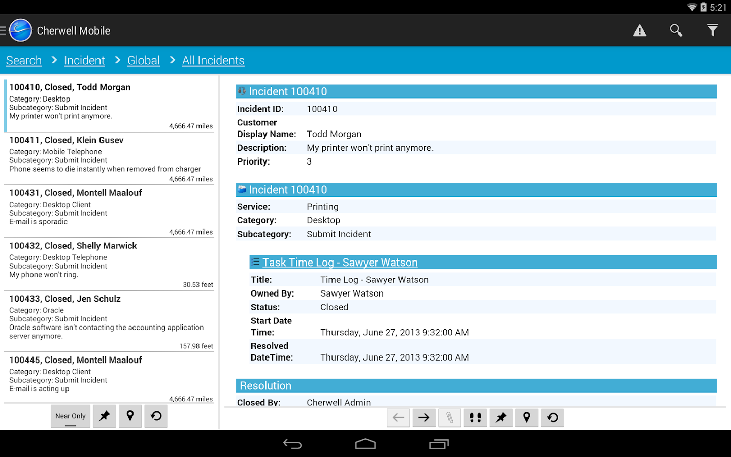 cherwell ITSM screenshot