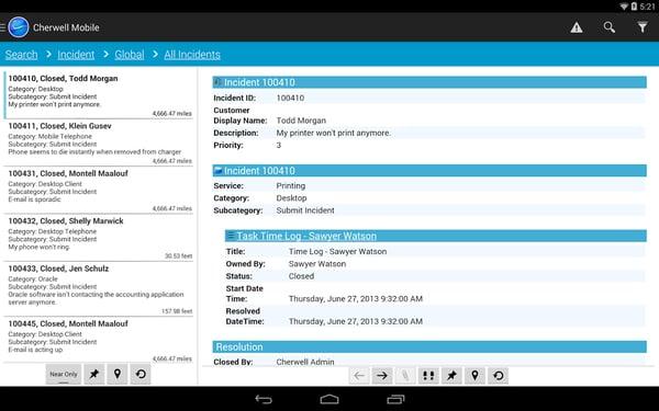 cherwell ITSM screenshot