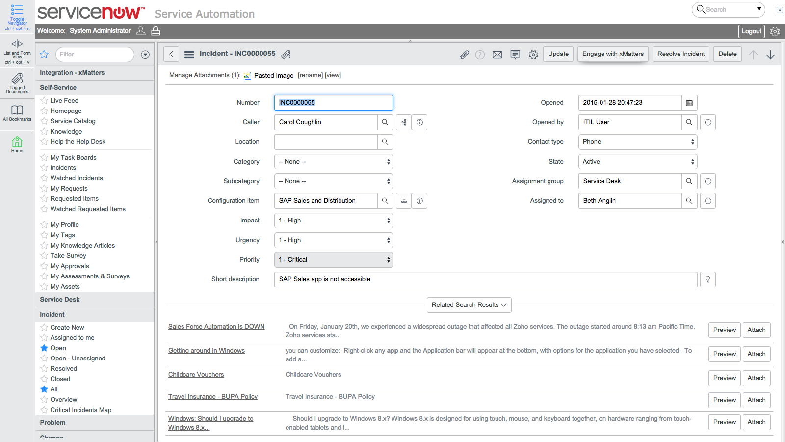 servicenow enterprise service management screenshot