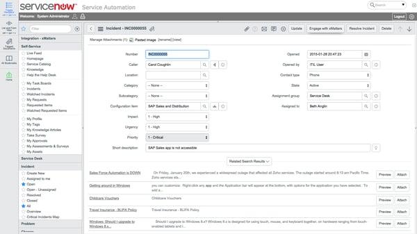 servicenow enterprise service management screenshot