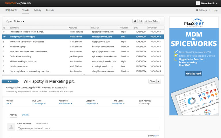 spiceworks project management screenshot