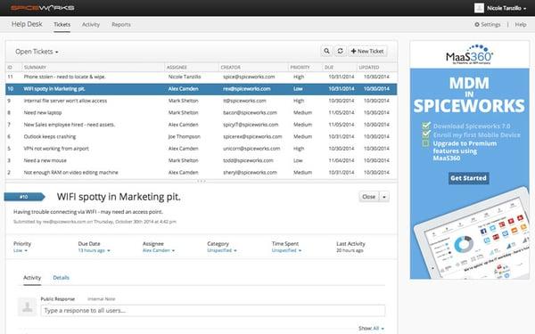 spiceworks project management screenshot