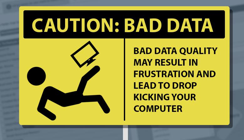Caution bad data warning sign